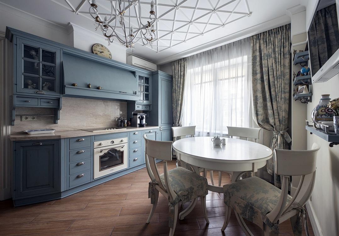 Прямая кухня в стиле прованс
