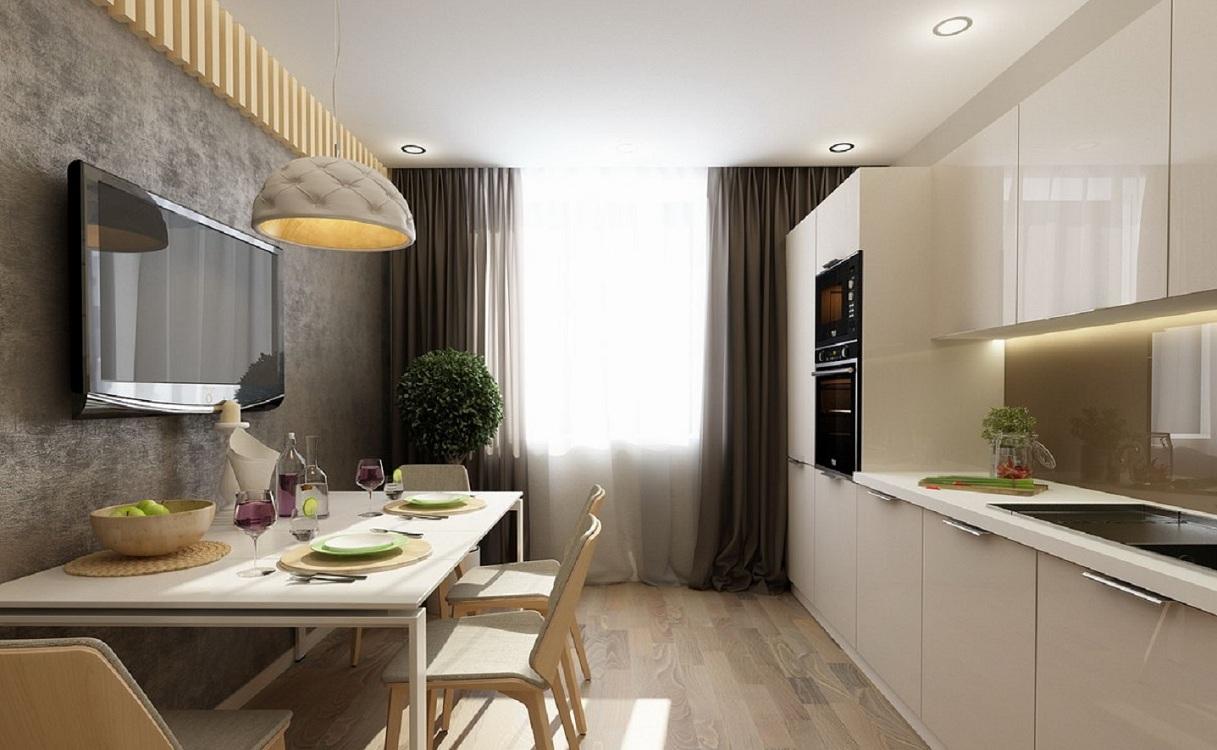 Прямоугольная кухня 14 метров