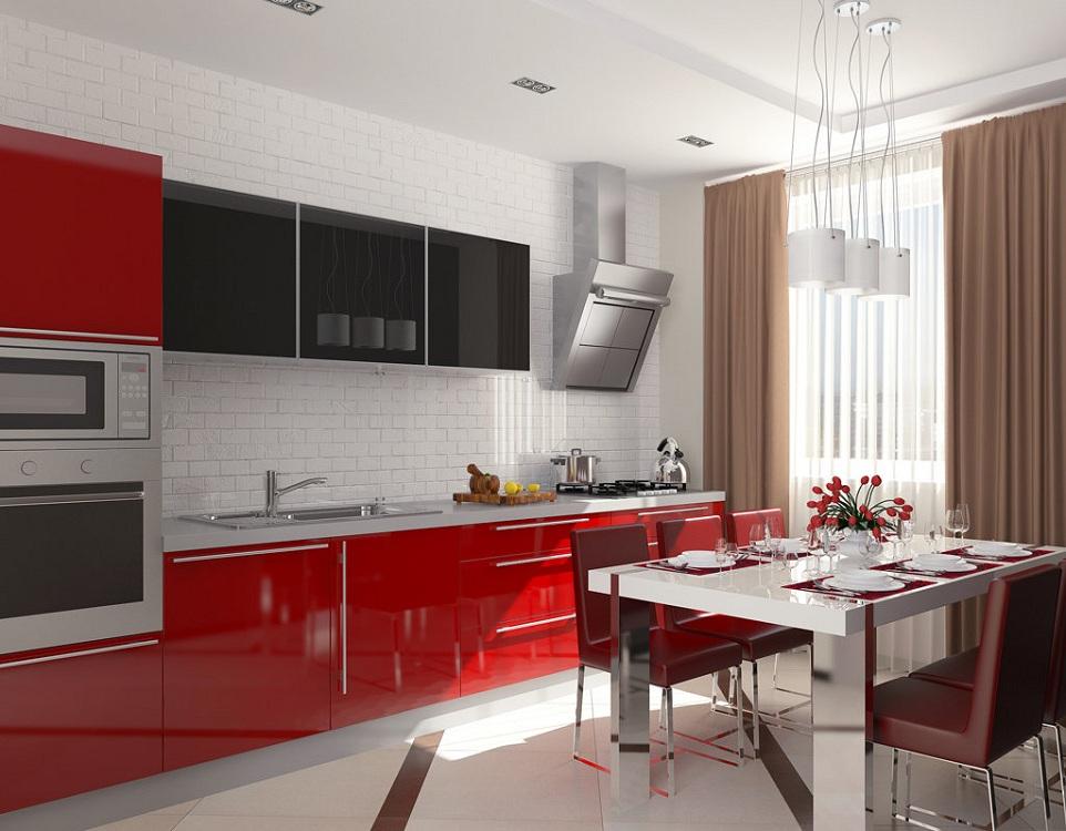 Шторы на красной кухне