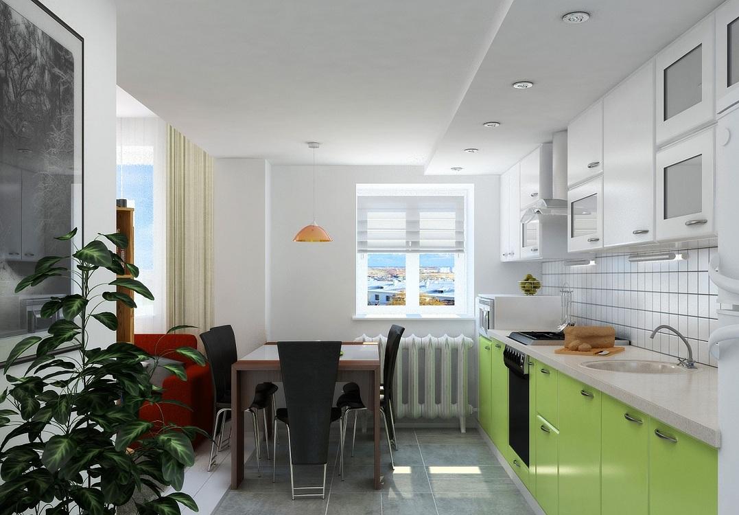 Салатовая кухня в скандинавском стиле
