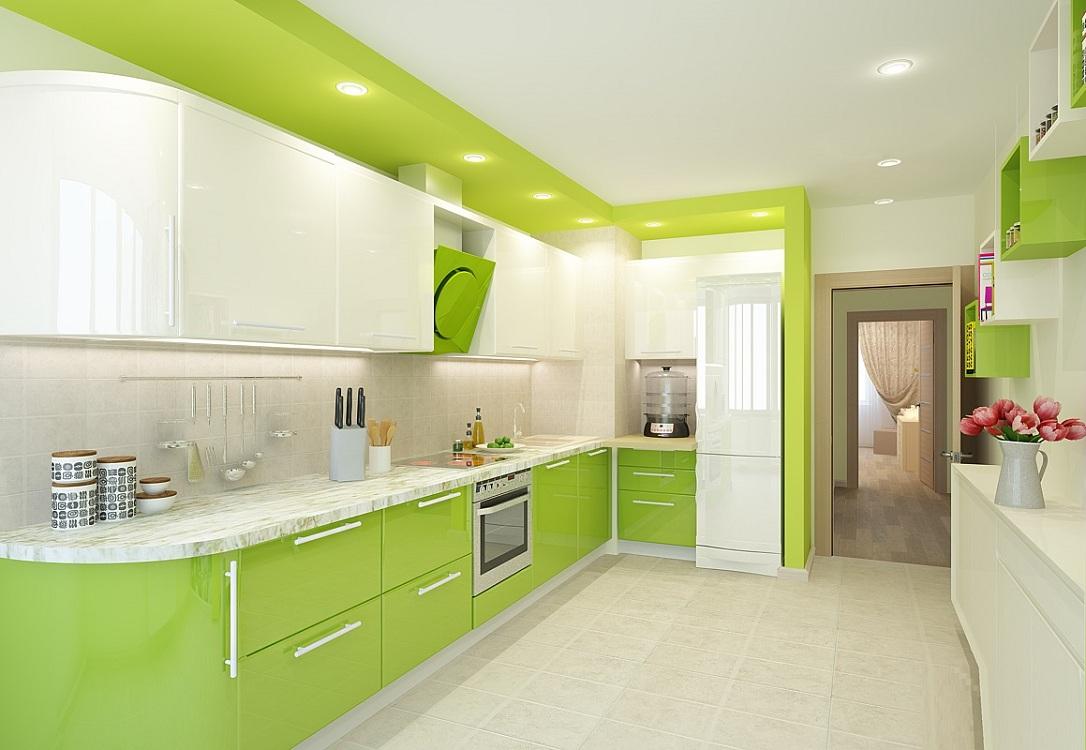 Салатовая кухня в сочетании с белым цветом