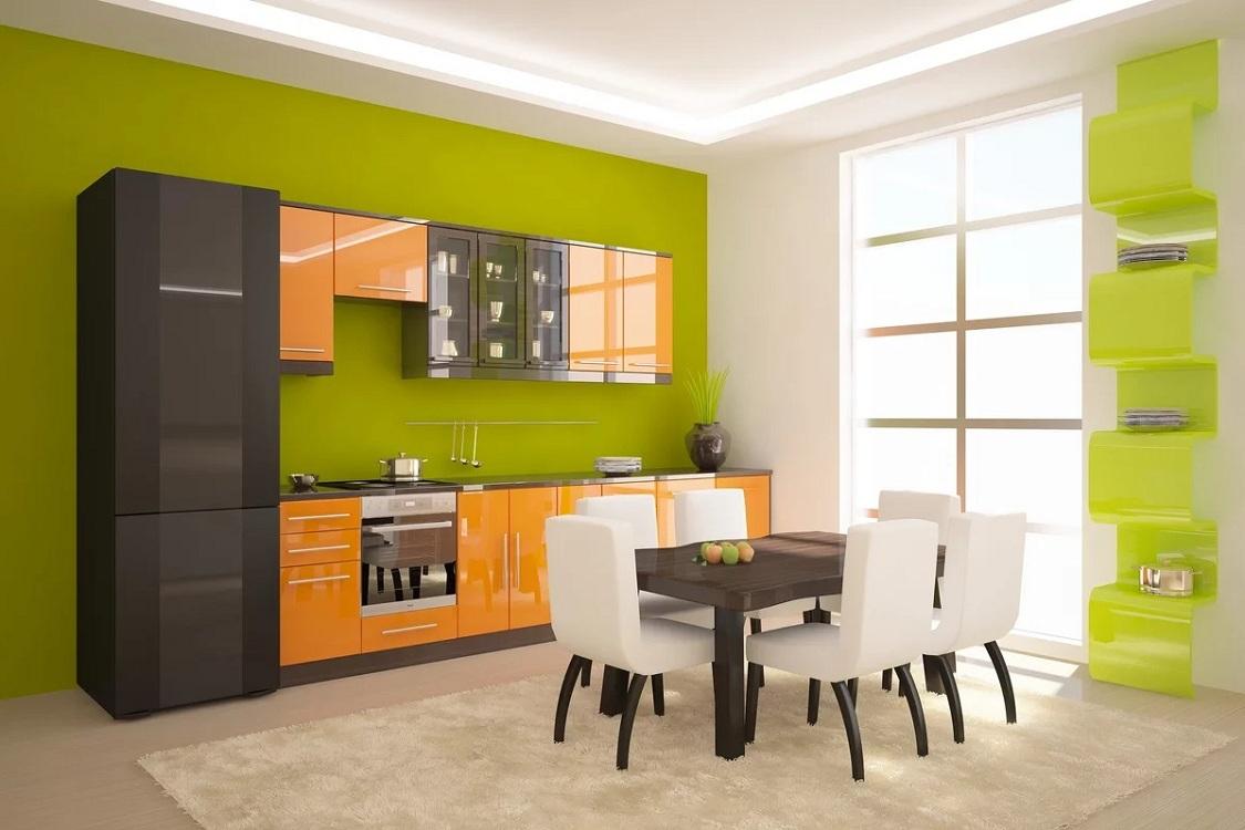 Салатовая кухня в сочетании с оранжевым