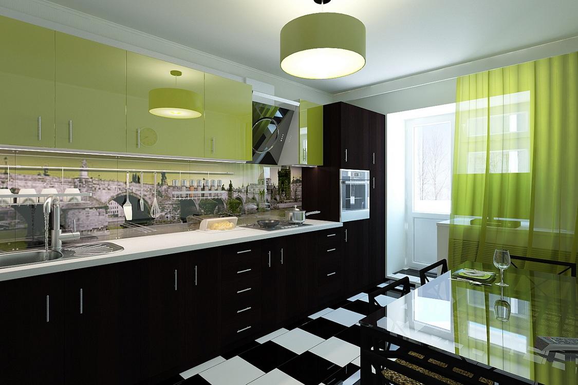 Салатово-черная кухня