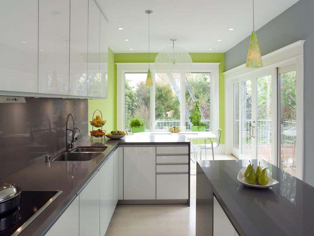 Салатово-серая кухня