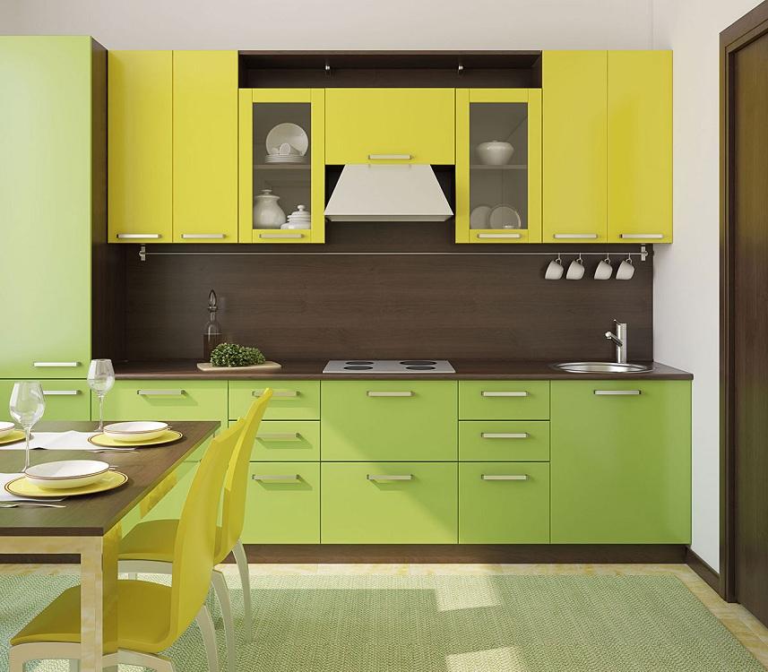 Салатово-желтая кухня