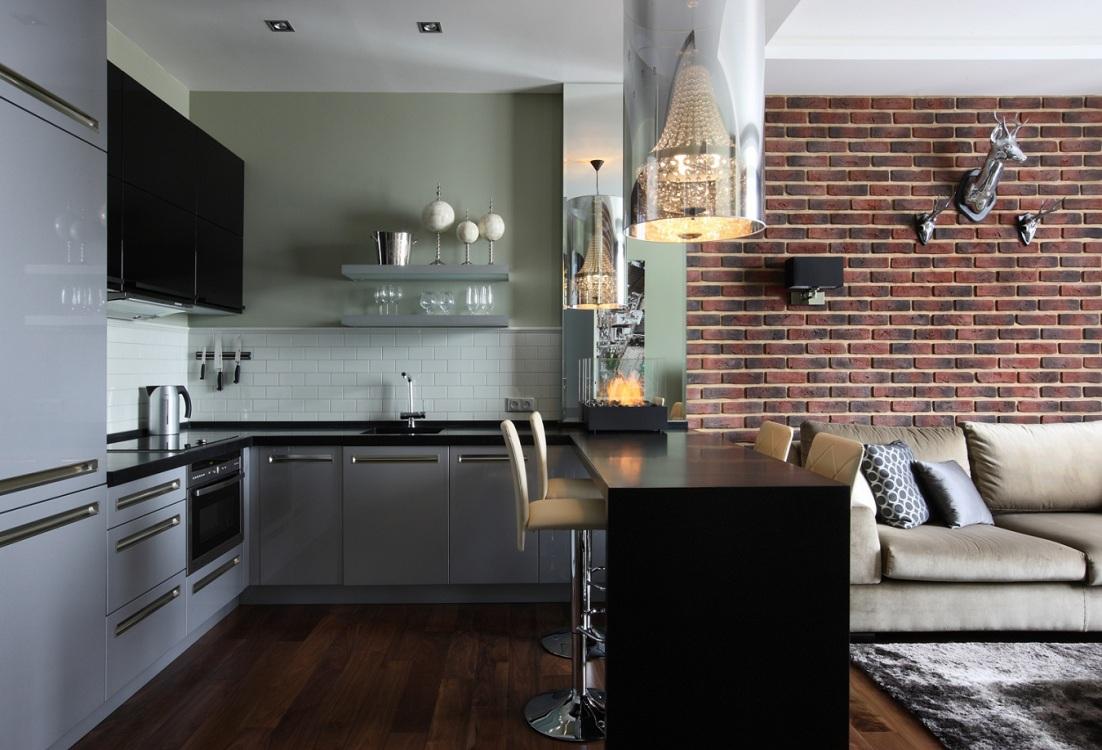 Серая кухня 14 метров