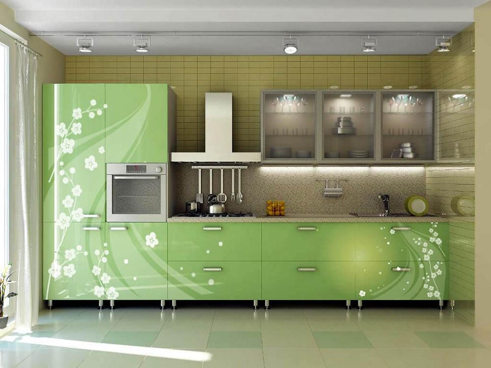 Способы декорирования стеклянных фасадов для кухни