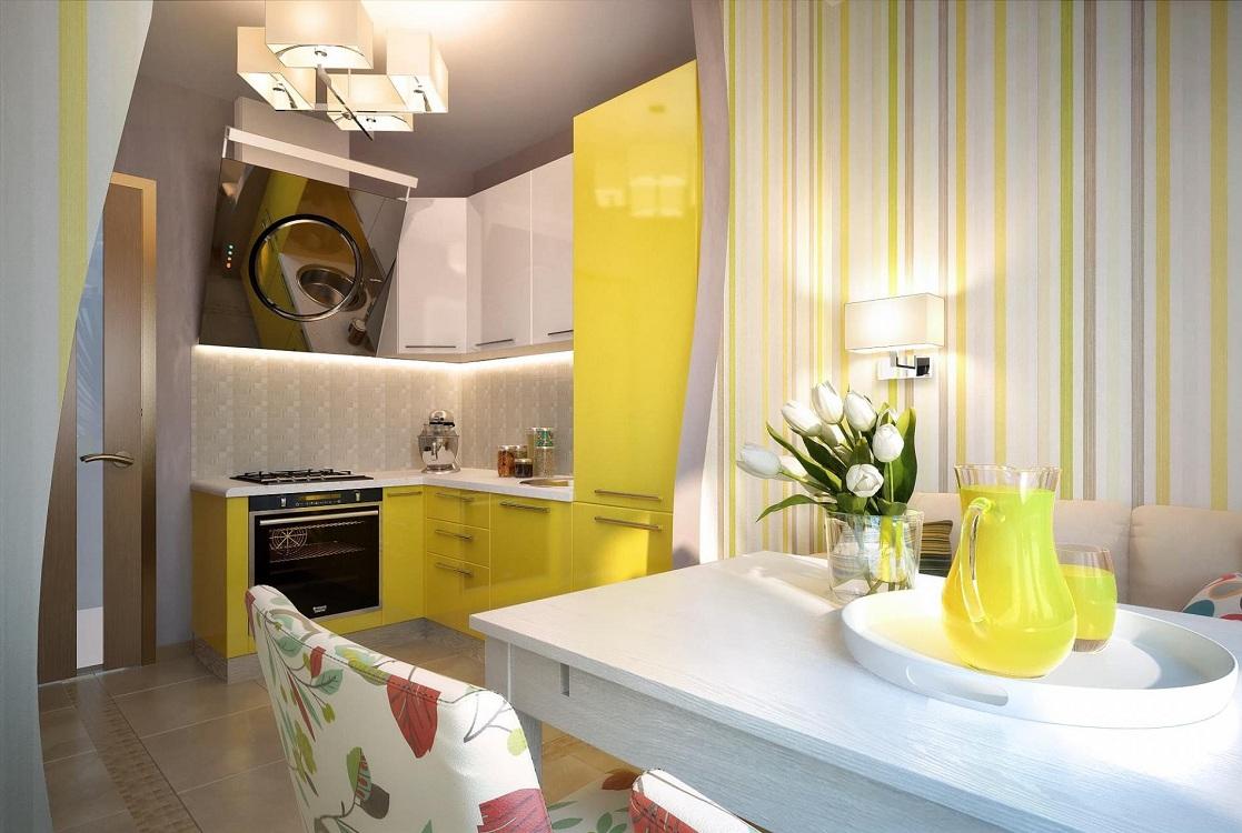 Цветовое сочетание обоев для маленькой кухни