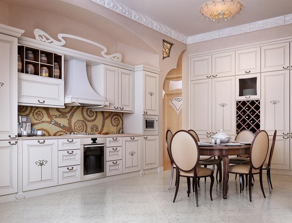 Вытяжка на кухне в классическом стиле