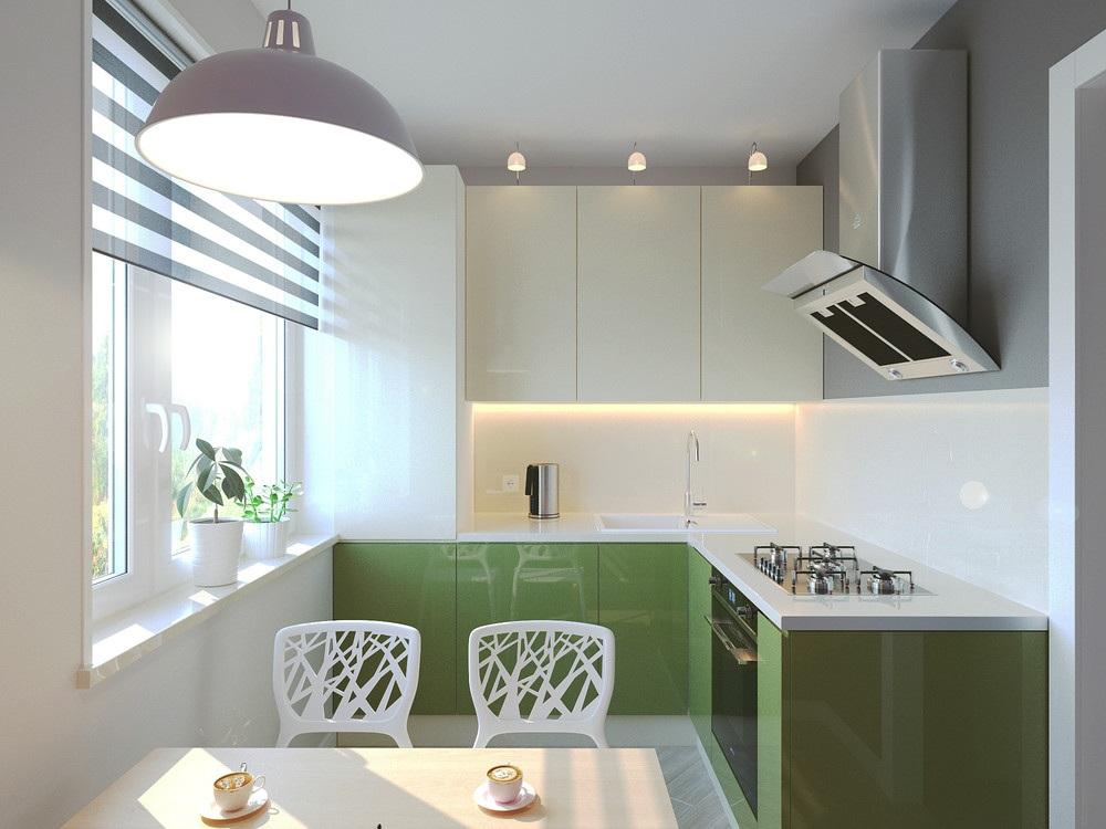 Зеленый гарнитур на кухне 6 метров