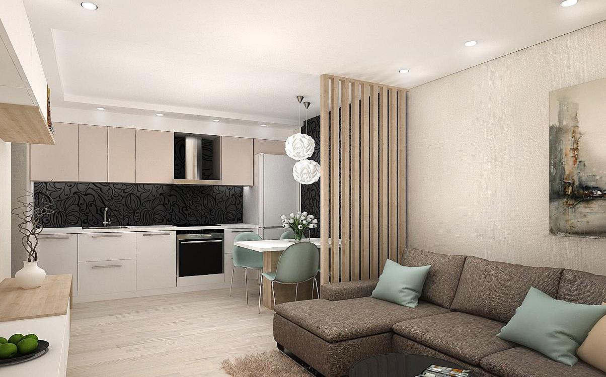 Декоративная перегородка на кухне 17 м