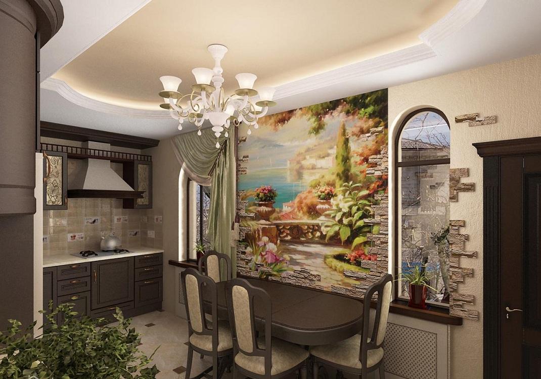 Фреска на жесткой основе в интерьере кухни