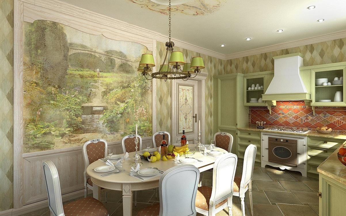 Фрески на кухне в стиле прованс