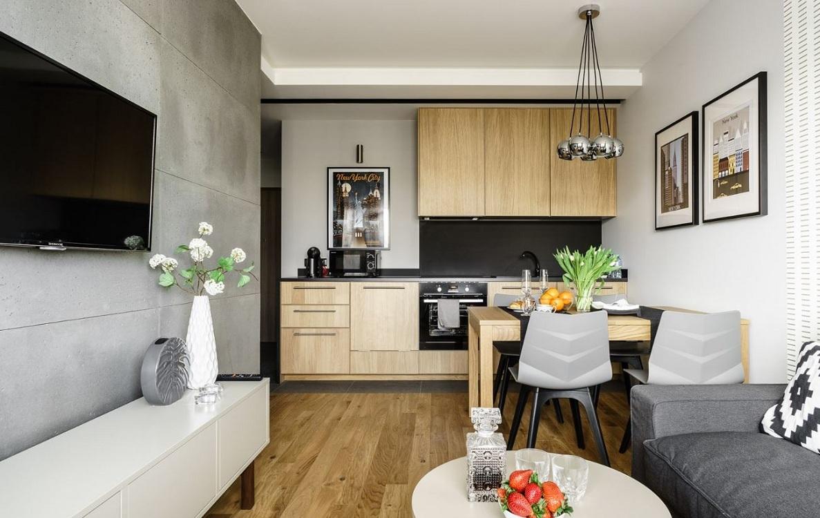 Интерьер кухни-гостиной 22 м