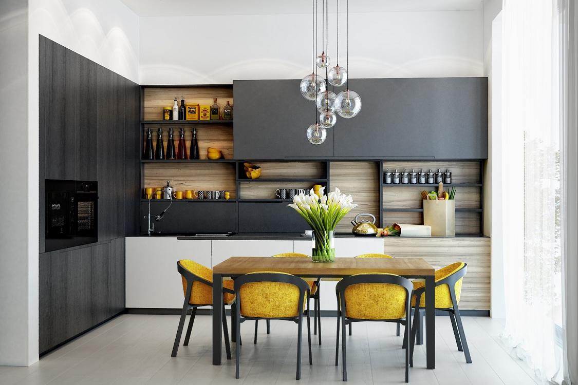 Кухня 10 м в черном цвете