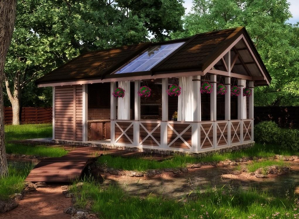 Монтаж крыши летней кухни