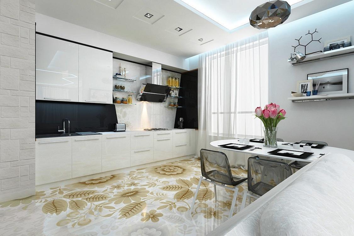 Наливной пол с 3D рисунком на кухне