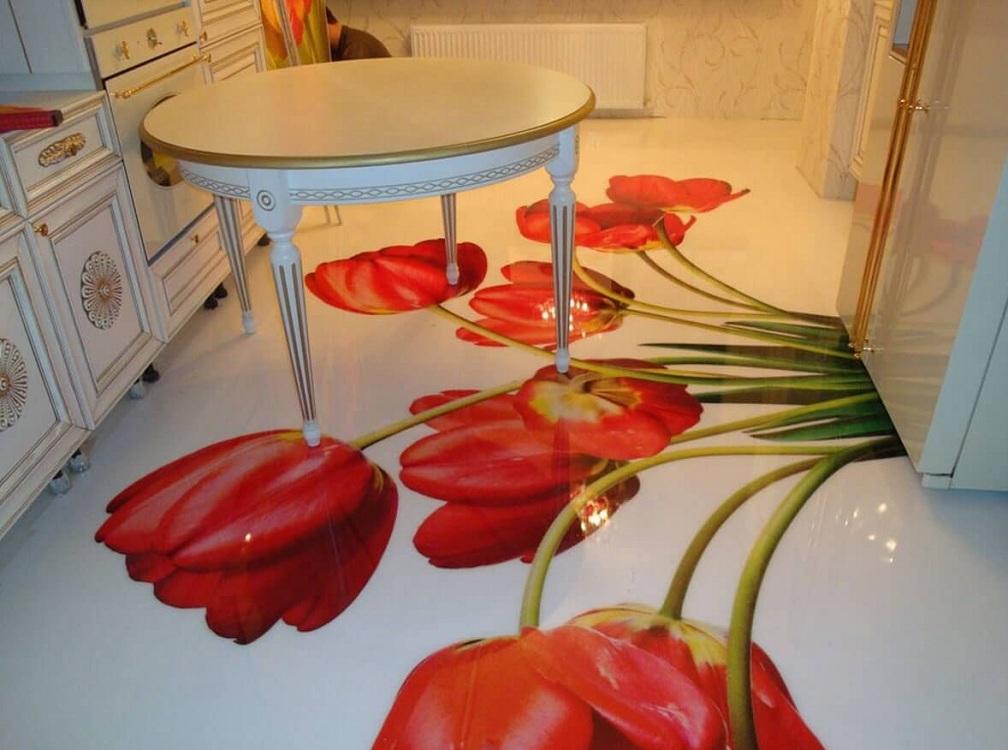 Наливной пол с обычным рисунком на кухне