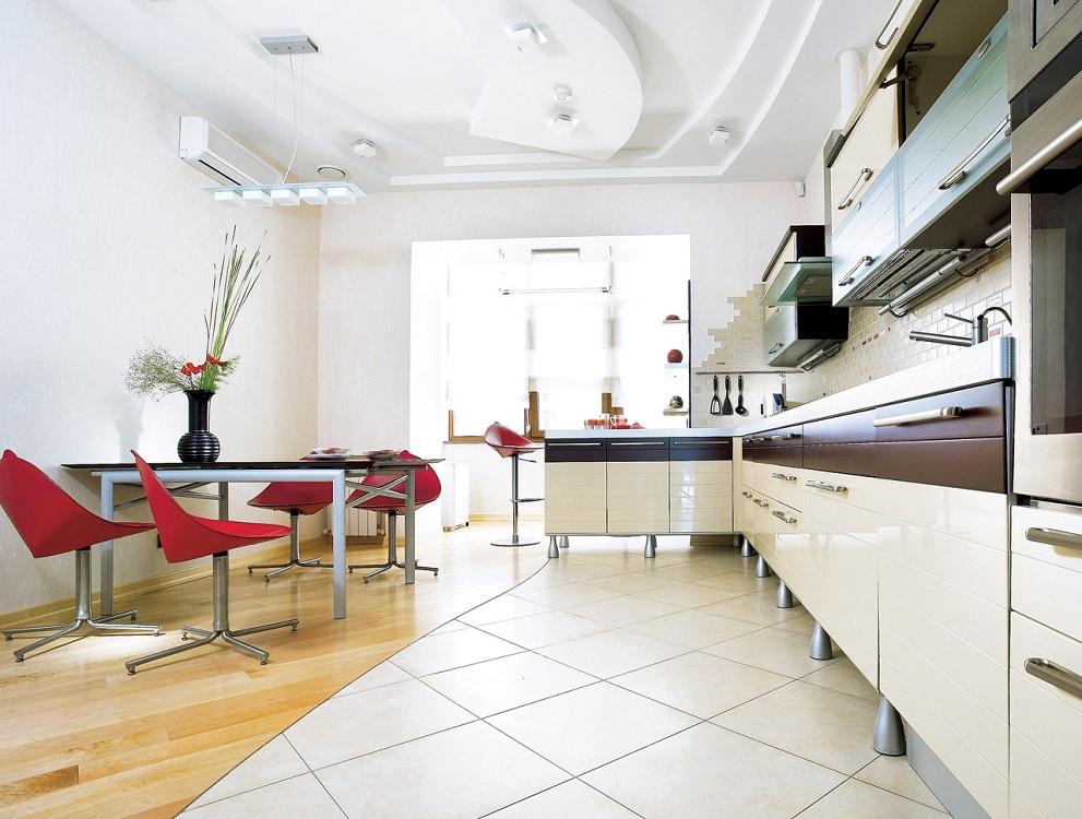 Оформление стыка комбинированного пола на кухне