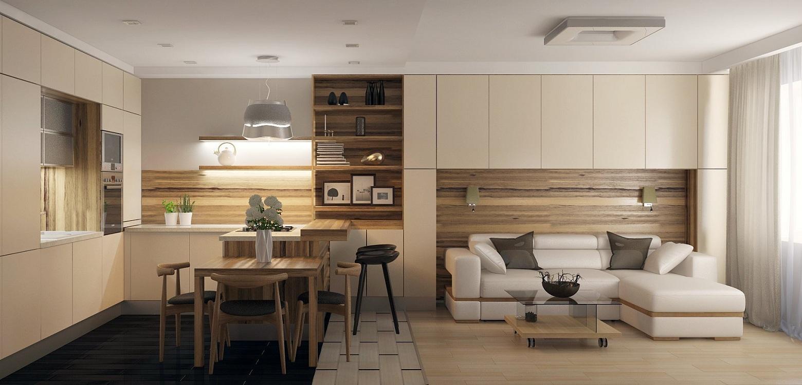 Планировка кухни-гостиной 22 м
