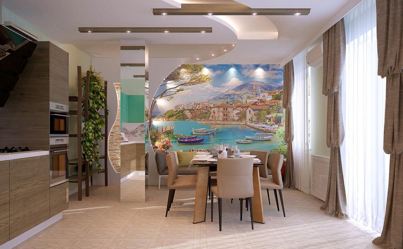 Применение фрески в интерьере кухни