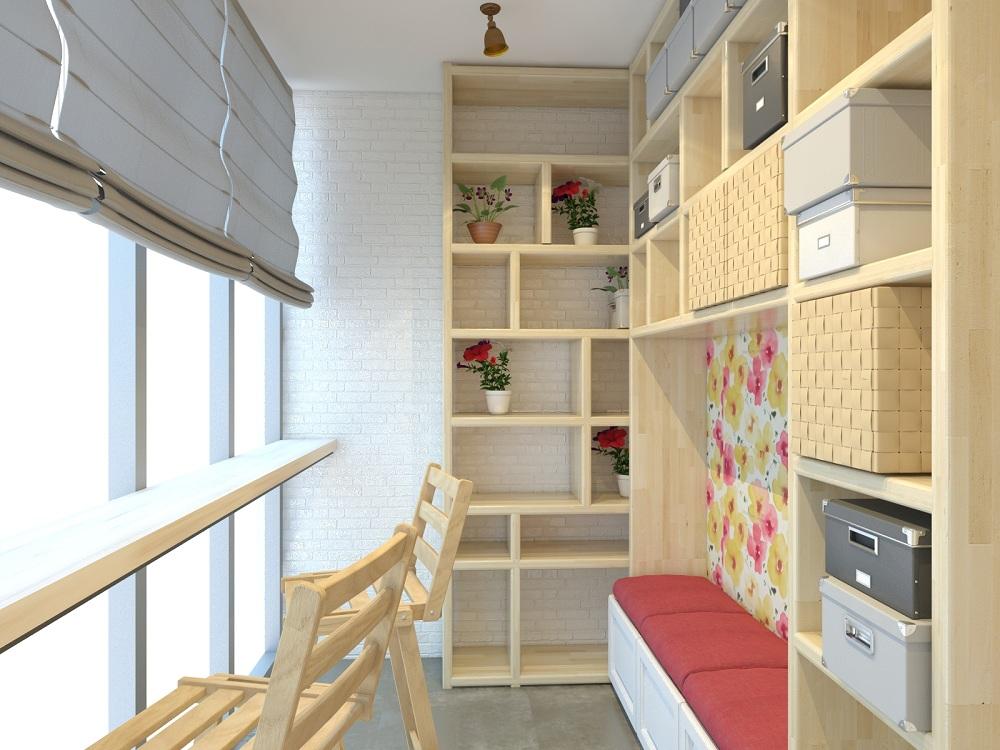 Система хранения на лоджии, совмещенной с кухней