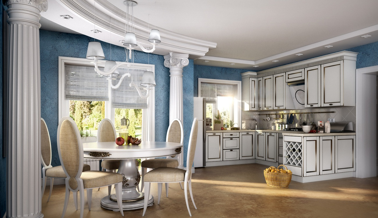 Декор кухни в греческом стиле