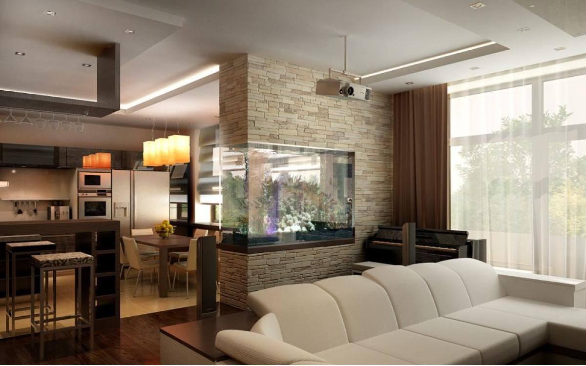 Декоративные элементы для зонирования кухни-гостиной 30 м