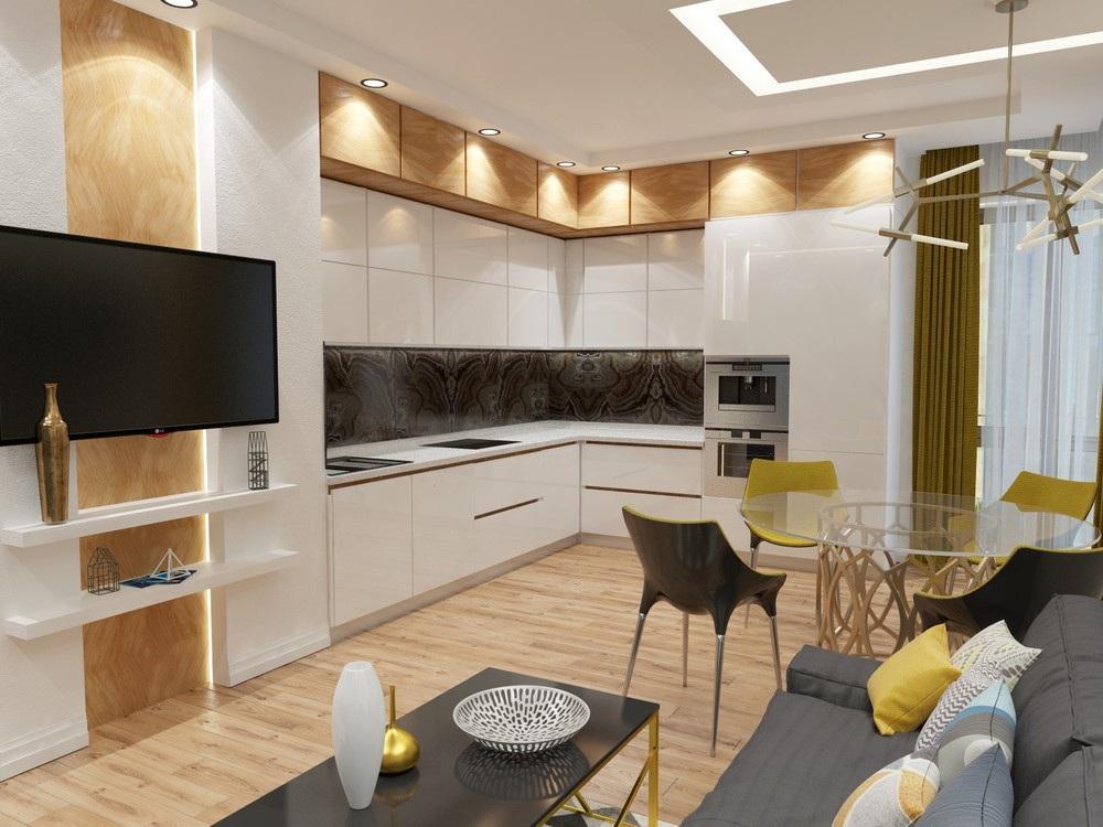 Г-образная кухня-гостиная 24 кв. м