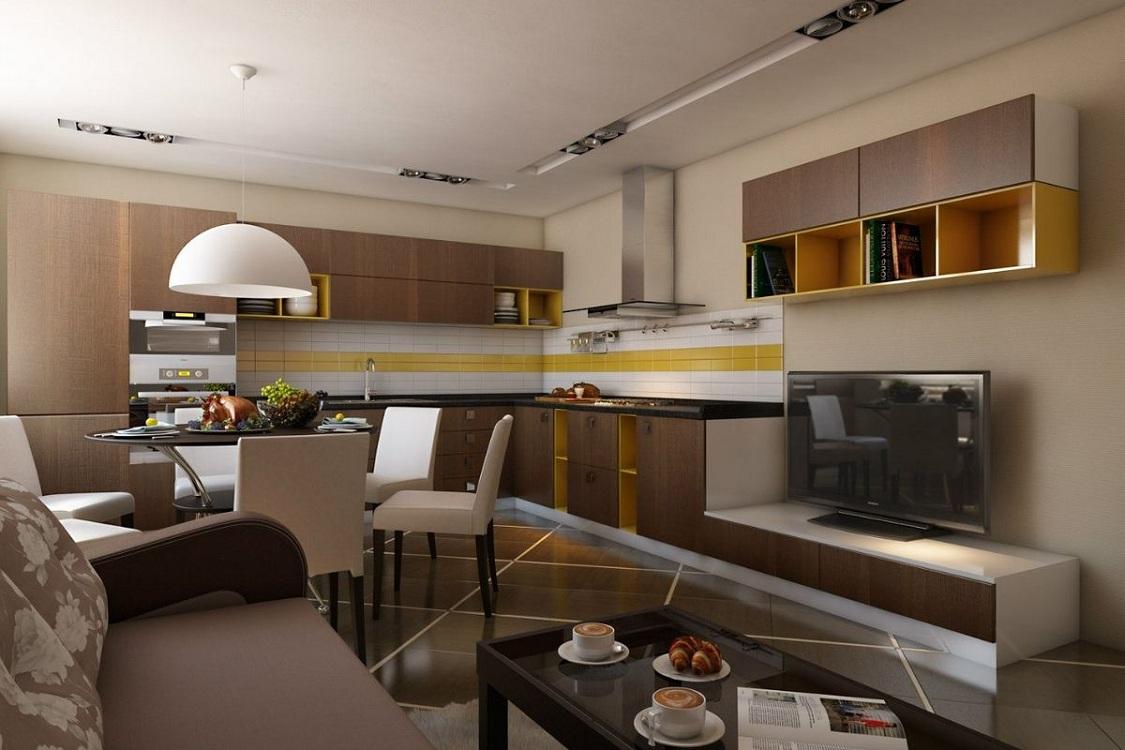 Г-образная планировка кухни-гостиной 25 м