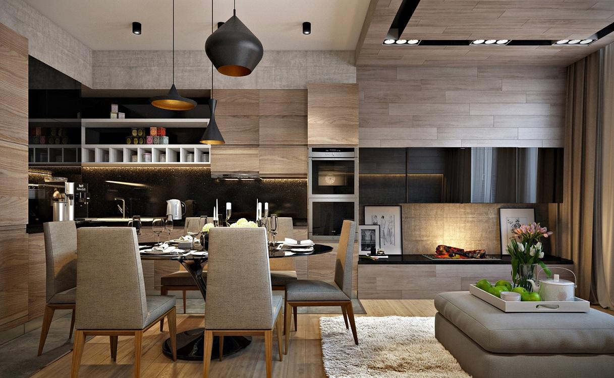 Интерьер кухни 16 м