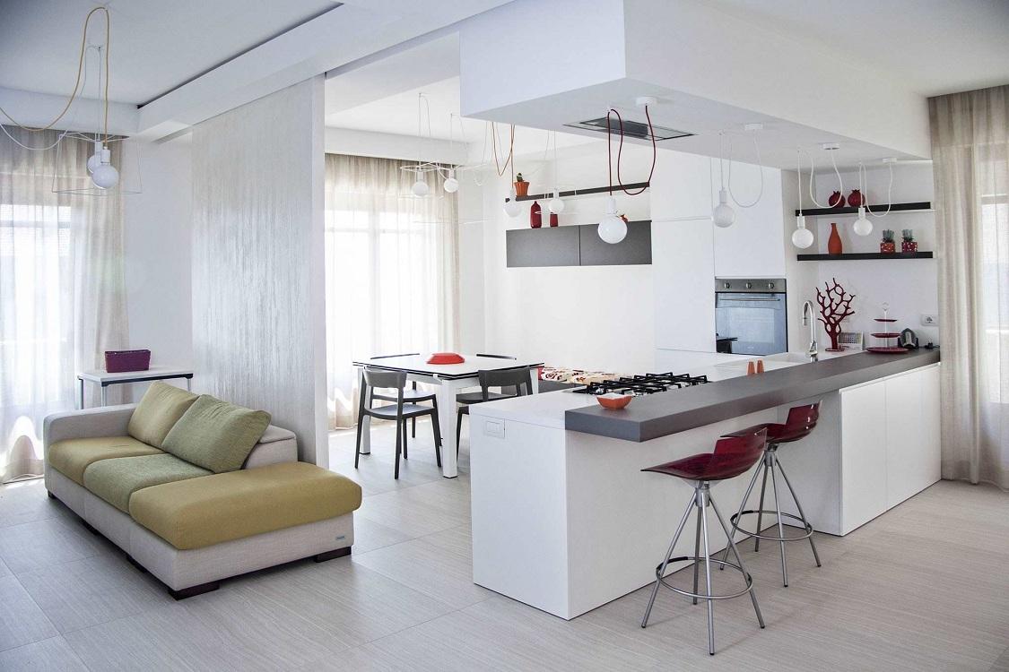 Интерьер кухни-гостиной 24 кв. м