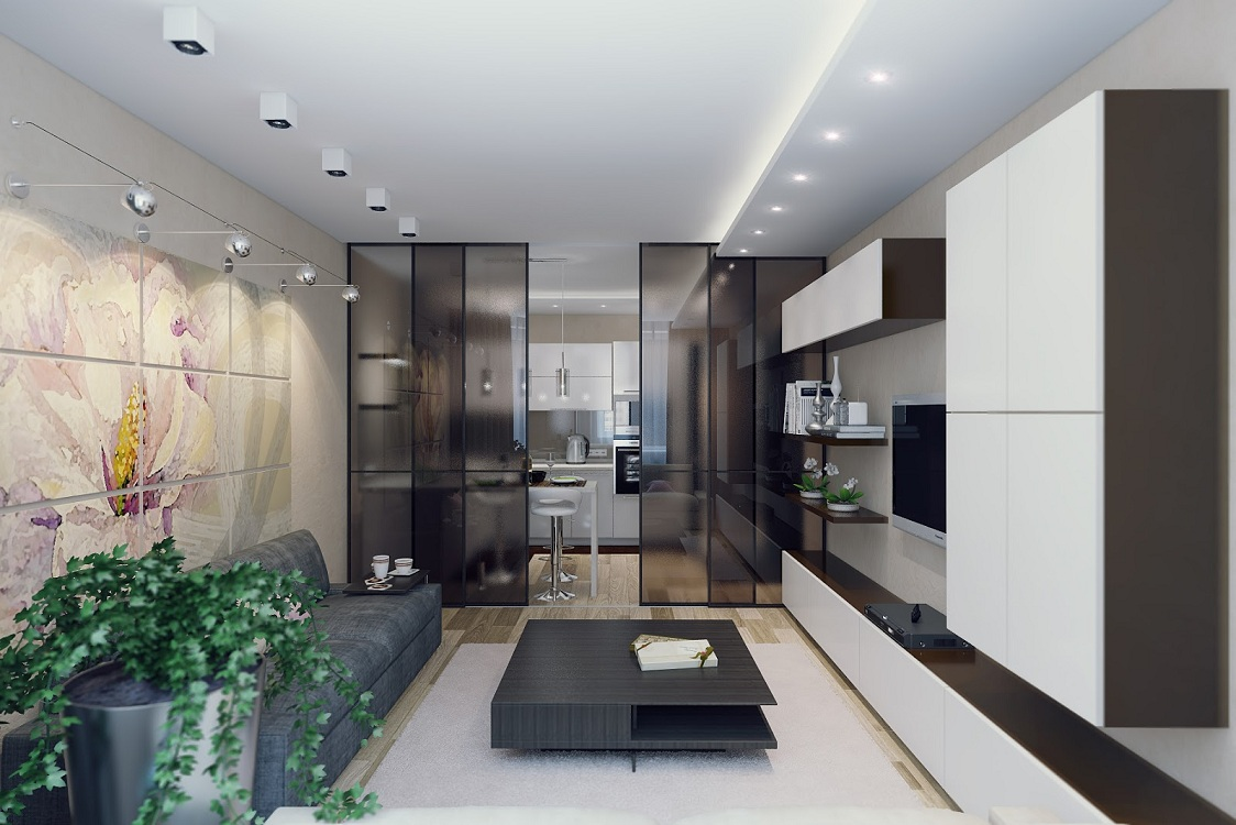 Интерьер кухни-гостиной 27 кв.м