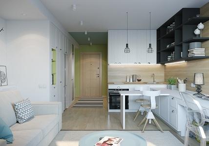 Кухня-гостиная 27 квадратных метров