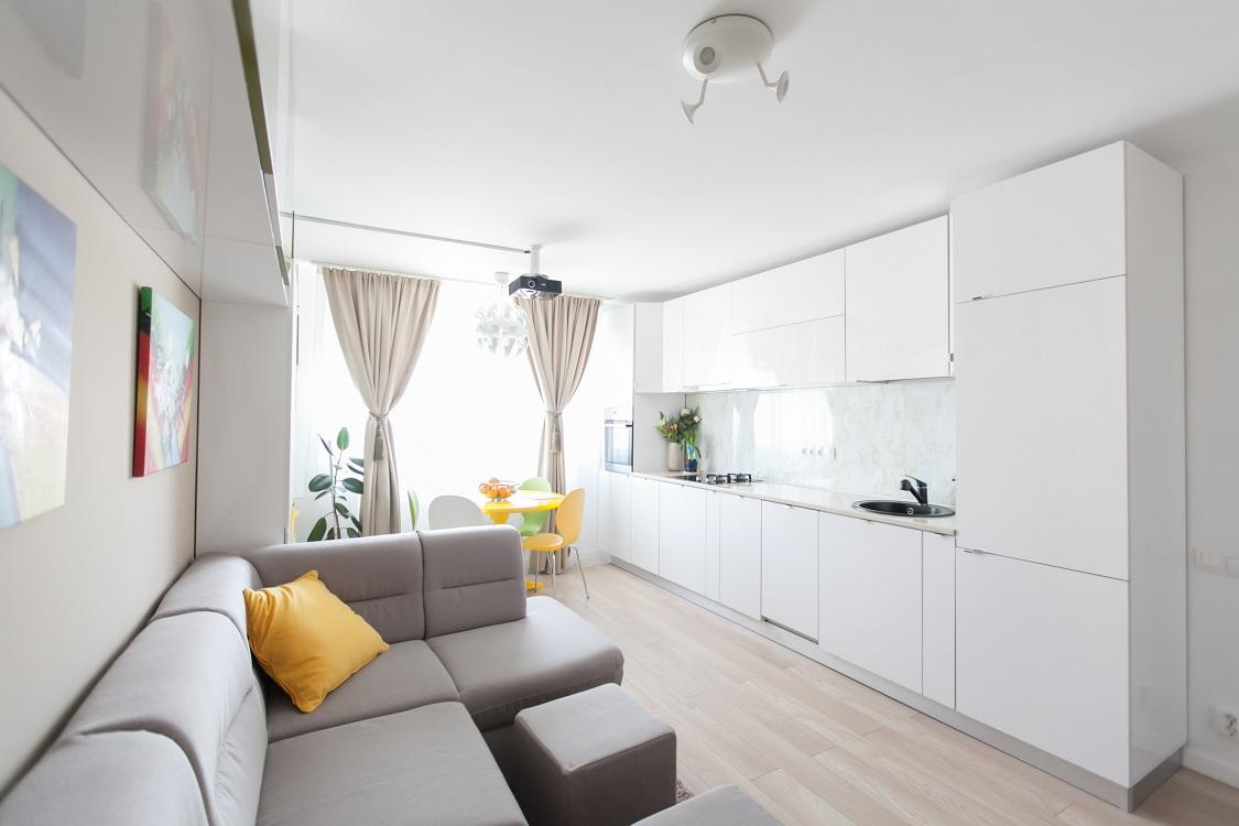Линейная планировка кухни-гостиной 25 м