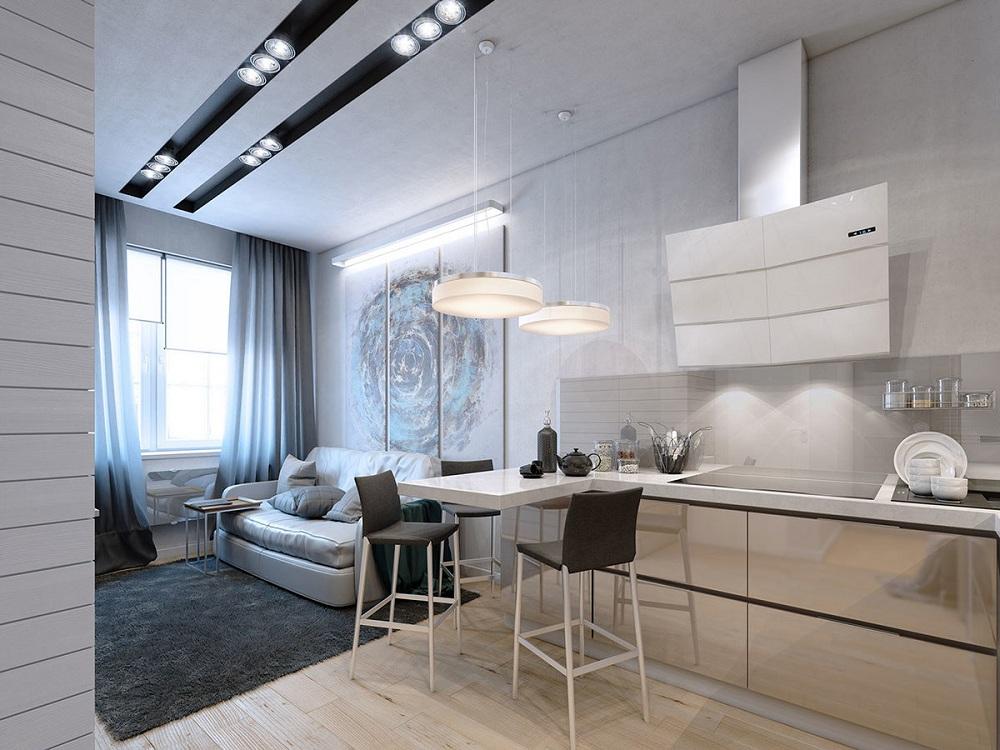 Линейная планировка кухни-гостиной 26 метров