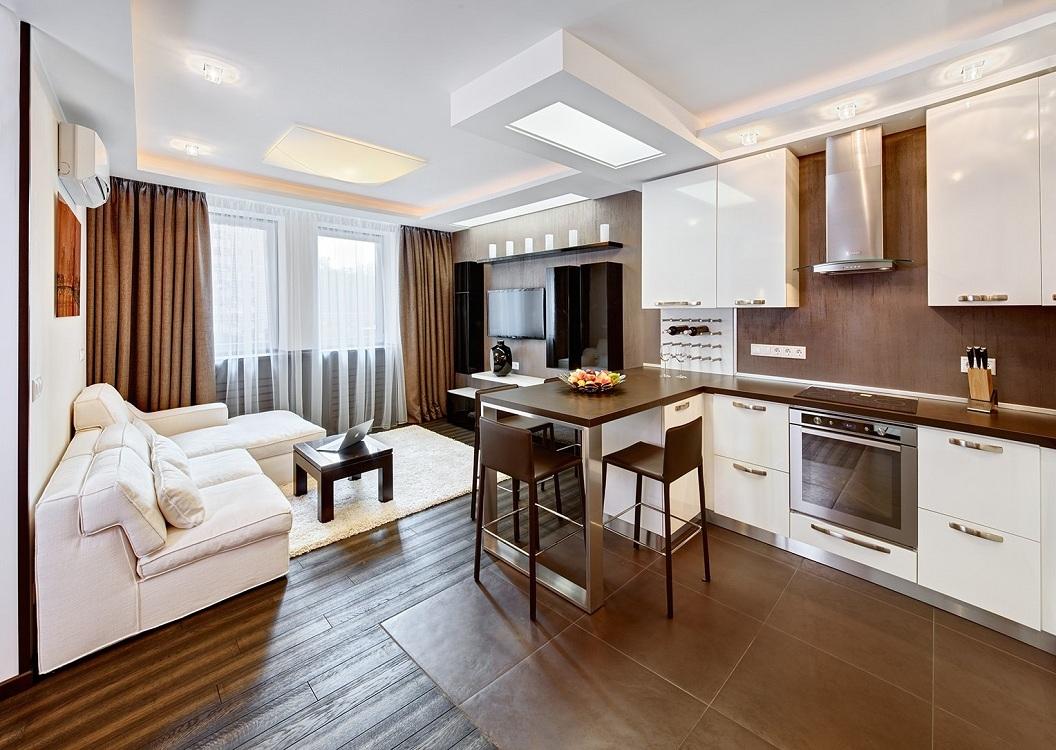 Линейная планировка кухни-гостиной 28 м
