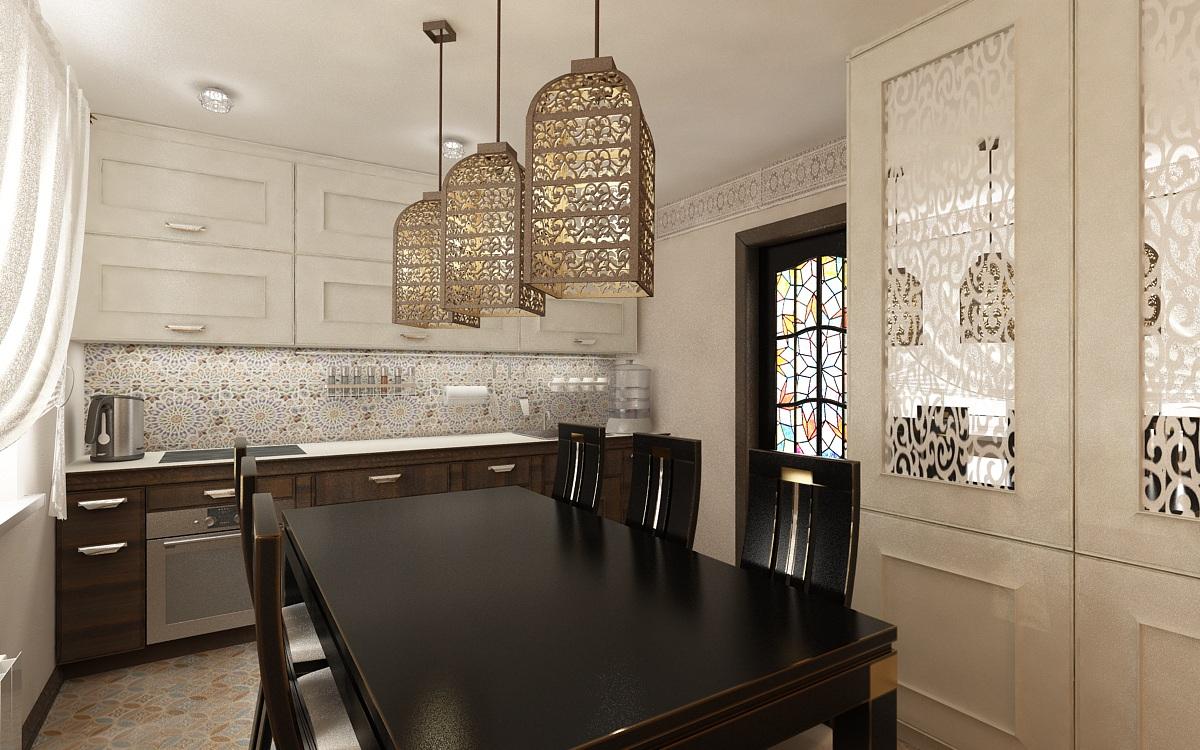 Освещение на кухне в восточном стиле