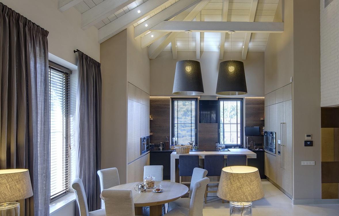 П-образная кухня-гостиная 24 кв. м