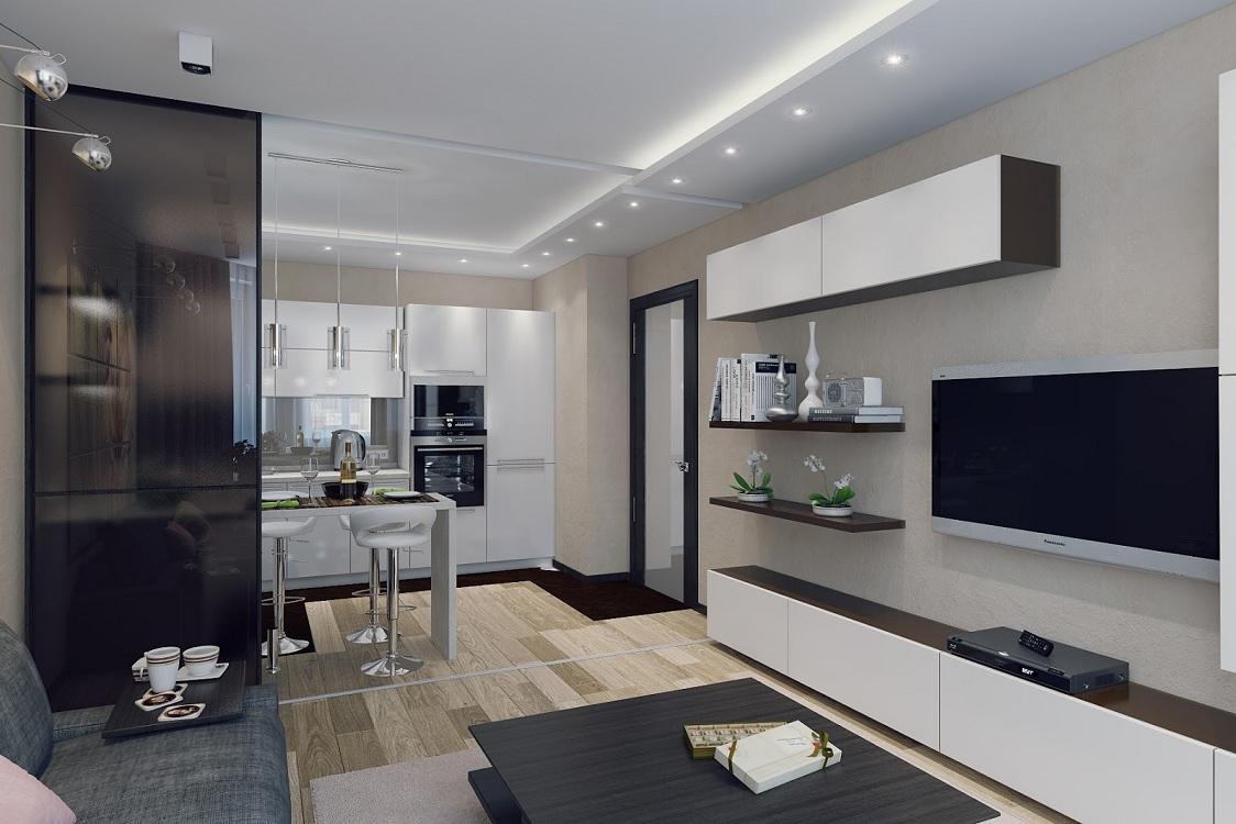Перегородка на кухне-гостиной 26 кв. м