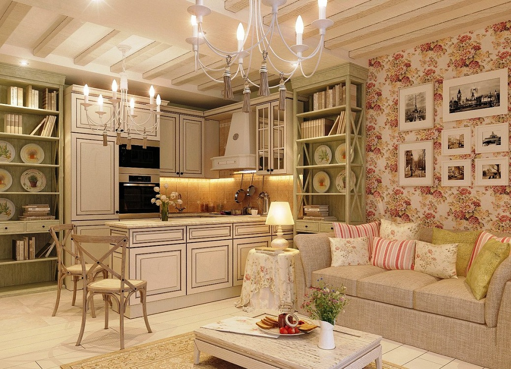 Потолок на кухне в стиле шебби-шик