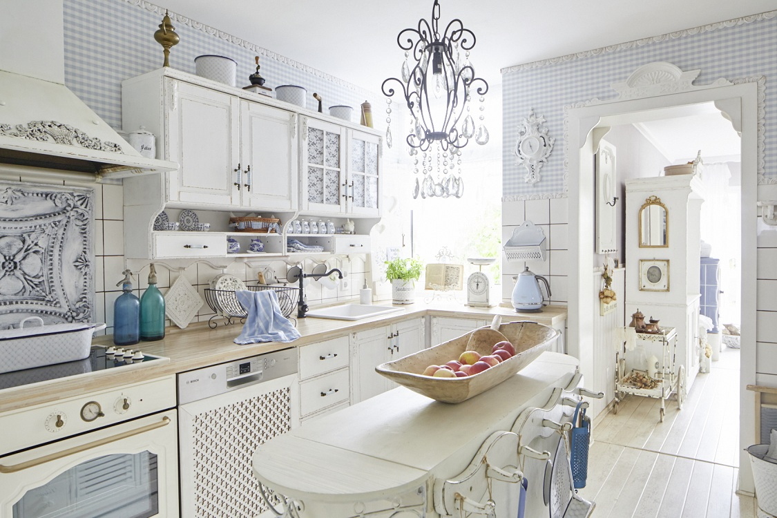 Стены на кухне в стиле шебби-шик