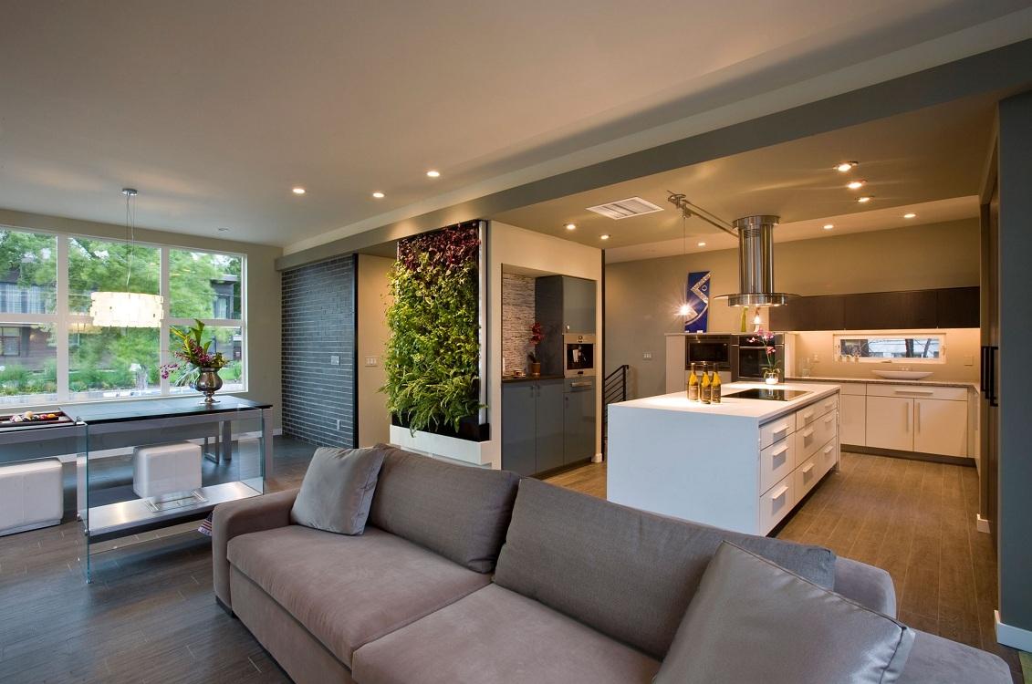 Световое зонирование кухни-гостиной 30 кв. м