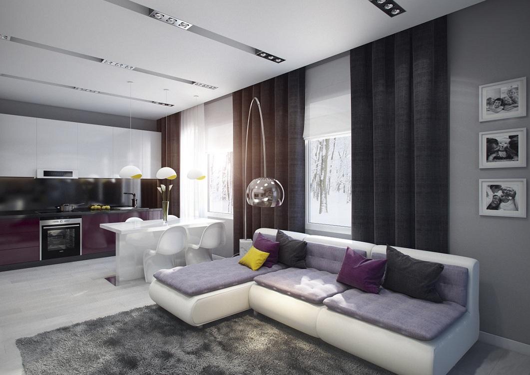 Цветовая гамма кухни-гостиной 27 квадратных метров