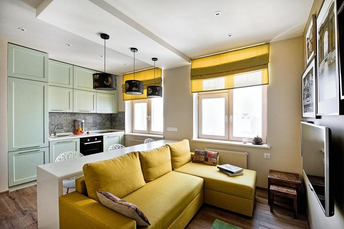 Цветовая палитра для оформления кухни-гостиной 26 м