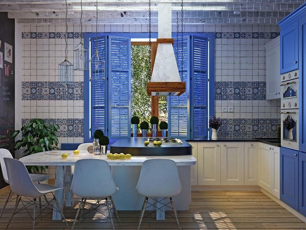 Цветовая палитра при оформлении кухни в греческом стиле