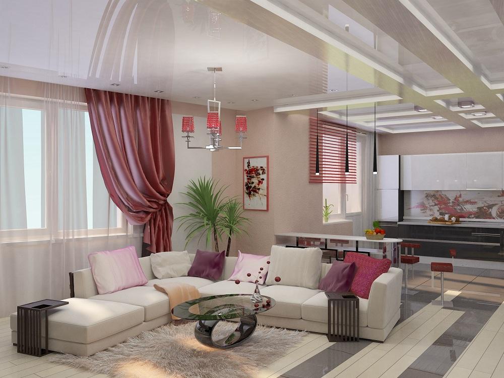 Цветовое оформление кухни-гостиной 28 м