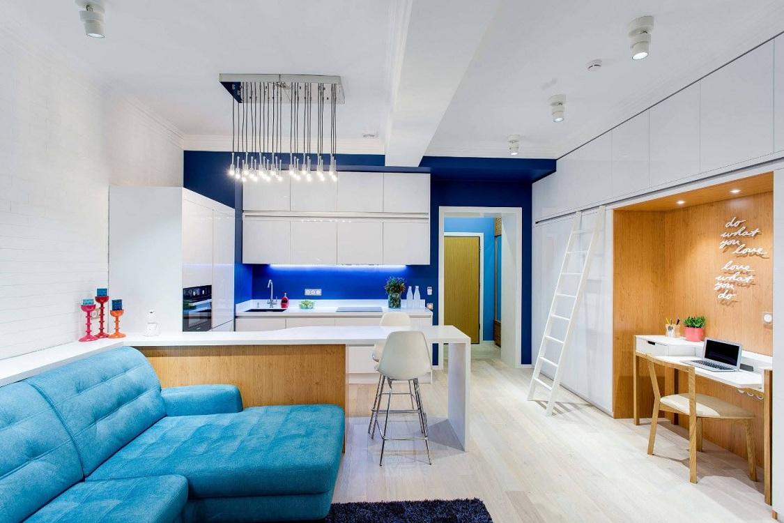 Цветовое зонирование кухни-гостиной 30 кв. м