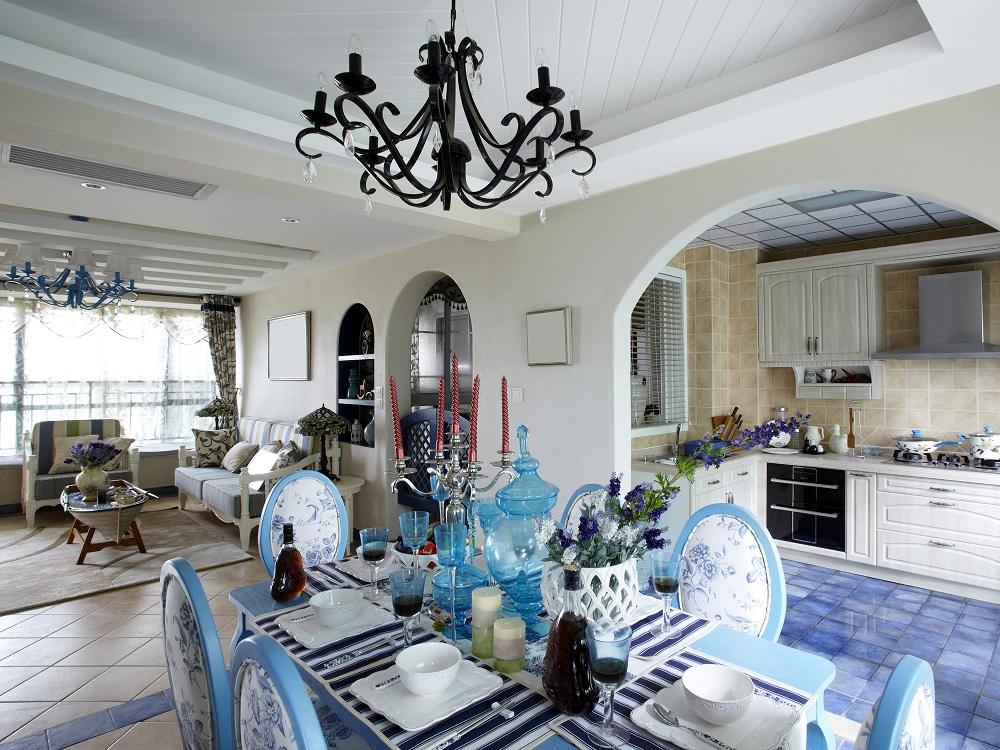 Текстиль на кухне в средиземноморском стиле