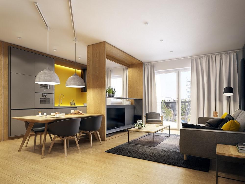 Зонирование кухни-гостиной 19 метров